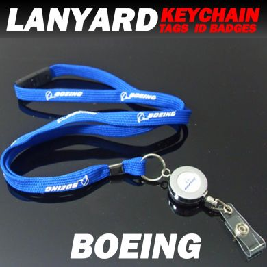 Boeing Chrome Lanyard Badge Reel (Retractable) 100cm