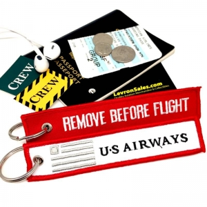 US Airways REMOVE BEFORE FLIGHT attendant pilot luggage bag tag keychain