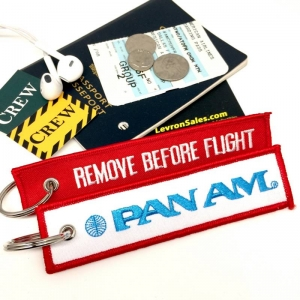 PAMAM Pan American World Airways REMOVE BEFORE FLIGHT attendant pilot luggage bag tag keychain