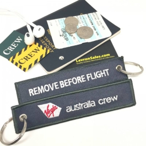 Virgin Australia Crew Grey REMOVE BEFORE FLIGHT attendant pilot luggage bag tag keychain