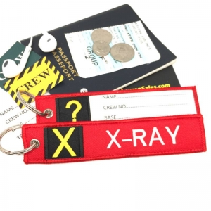 X X-Ray Tag w/ name card on back Flight Attendant pilot cabin crew luggage bag tag keychain