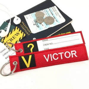 V Victor Tag w/ name card on back Flight Attendant pilot cabin crew luggage bag tag keychain