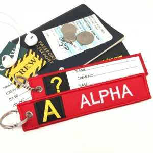 A Alpha Tag w/ name card on back Flight Attendant pilot cabin crew luggage bag tag keychain