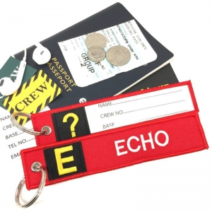 E Echo Tag w/ name card on back Flight Attendant pilot cabin crew luggage bag tag keychain