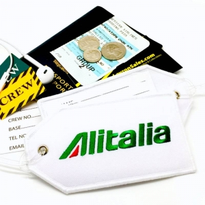 Alitalia airline Real Luggage Style tag with back slot for ID Flight Attendant Cabin Crew Cockpit Pilot Crew Authentic Equipment