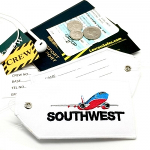 Southwest Airlines airline Real Luggage Style tag with back slot for ID Flight Attendant Cabin Crew Cockpit Pilot Crew Authentic Equipment