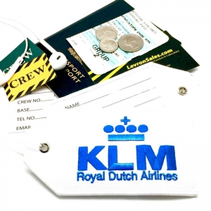 KLM airline Real Luggage Style tag with back slot for ID Flight Attendant Cabin Crew Cockpit Pilot Crew Authentic Equipment