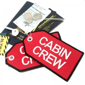 CABIN CREW red airline Real Luggage Style tag with back slot for ID Flight Attendant Cabin Crew Cockpit Pilot Crew Authentic Equipment