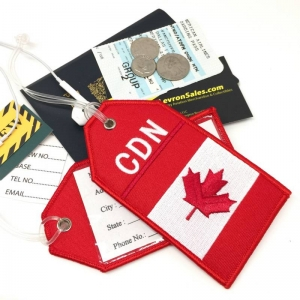 CDN Canada flag airline Real Luggage Style tag with back slot for ID Flight Attendant Cabin Crew Cockpit Pilot Crew Authentic Equipment