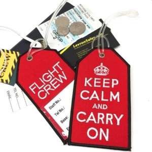 Be Calm and Carry On slogan airline Real Luggage Style tag with back slot for ID Flight Attendant Cabin Crew Cockpit Pilot Crew Authentic Equipment