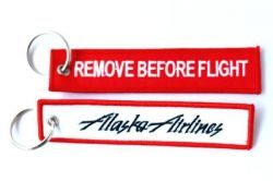 2pcs Alaska Airlines Keychain Baggage Tag Luggage Flag Address ID tag for CREW PILOT FLIGHT ATTENDANT UNIFORM