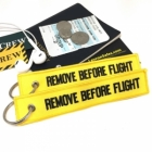 Remove Before Flight Yellow color tag keychain