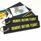 Remove Before Flight Black & Yellow color tag keychain