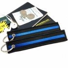 The thin blue line (police) law enforcement keychain bag tag