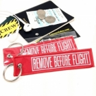 Vintage style Remove Before Flight keychain luggage tag