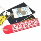 Vintage style Remove Before Flight w/rubber band luggage tag