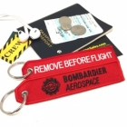 Bombardier Aerospace Remove Before Flight luggage tag keychain