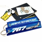 Boeing 767 wave Remove Before Flight tag keychain