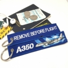 Airbus 350 wave Remove Before Flight luggage bag tag keychain