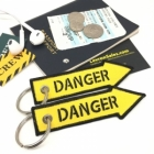 DANGER arrow Fighter Jet pilot crew luggage bag tag keychain