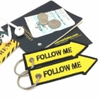 FOLLOW ME arrow Fighter Jet pilot crew luggage bag tag keychain