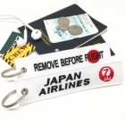 Japan Airline White Red Sun JAL flight attendant cockpit crew luggage bag tag keychain