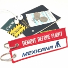 Mexicana REMOVE BEFORE FLIGHT attendant pilot luggage bag tag keychain