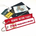 TWA TransWorld Airline REMOVE BEFORE FLIGHT attendant pilot luggage bag tag keychain