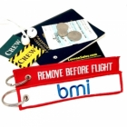 bmi British Midland Airways REMOVE BEFORE FLIGHT attendant pilot luggage bag tag keychain