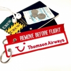 Thomson Airways REMOVE BEFORE FLIGHT attendant pilot luggage bag tag keychain