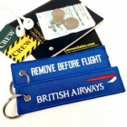 British Airways BLUE REMOVE BEFORE FLIGHT attendant pilot luggage bag tag keychain