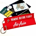 Air Asia REMOVE BEFORE FLIGHT attendant pilot luggage bag tag keychain