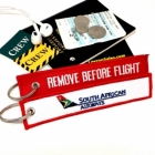 South African Airways REMOVE BEFORE FLIGHT attendant pilot luggage bag tag keychain