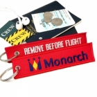 Monarch Airlines REMOVE BEFORE FLIGHT attendant pilot luggage bag tag keychain