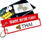 Thai Airways REMOVE BEFORE FLIGHT attendant pilot luggage bag tag keychain
