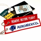 Aeromexico REMOVE BEFORE FLIGHT attendant pilot luggage bag tag keychain