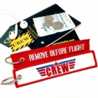 CREW crew Remove Before Flight Top Gun style luggage bag tag keychain
