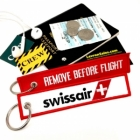 Swissair REMOVE BEFORE FLIGHT attendant pilot luggage bag tag keychain