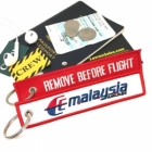 Malaysia Airlines REMOVE BEFORE FLIGHT attendant pilot luggage bag tag keychain