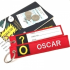 O Oscar Tag w/ name card on back Flight Attendant pilot cabin crew luggage bag tag keychain