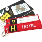 H Hotel Tag w/ name card on back Flight Attendant pilot cabin crew luggage bag tag keychain