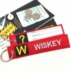 W Whiskey Tag w/ name card on back Flight Attendant pilot cabin crew luggage bag tag keychain