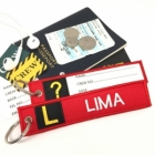 L Lima Tag w/ name card on back Flight Attendant pilot cabin crew luggage bag tag keychain