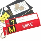 M Mike Tag w/ name card on back Flight Attendant pilot cabin crew luggage bag tag keychain