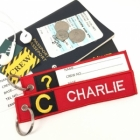 C Charlie Tag w/ name card on back Flight Attendant pilot cabin crew luggage bag tag keychain