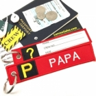 P Papa Tag w/ name card on back Flight Attendant pilot cabin crew luggage bag tag keychain
