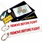White Red Remove Before Flight attendant pilot luggage bag tag keychain