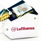 Lufthansa airline Real Luggage Style tag with back slot for ID Flight Attendant Cabin Crew Cockpit Pilot Crew Authentic Equipment