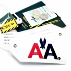 AA American Airlines airline Real Luggage Style tag with back slot for ID Flight Attendant Cabin Crew Cockpit Pilot Crew Authentic Equipment