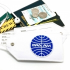 Pan-Am Pan American airline Real Luggage Style tag with back slot for ID Flight Attendant Cabin Crew Cockpit Pilot Crew Authentic Equipment